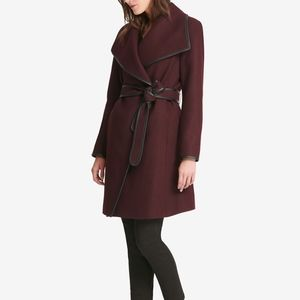 DKNY faux leather trim maxi wrap wool coat